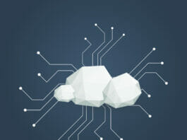 Cloud computing concept illustration with low poly clouds. Data storage infrastructure.