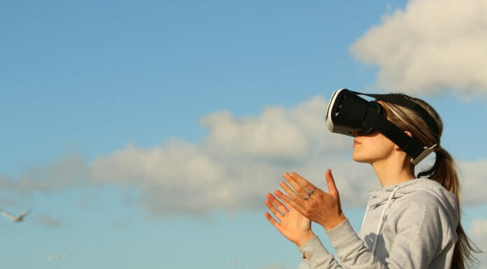 Woman with virtual reality goggles