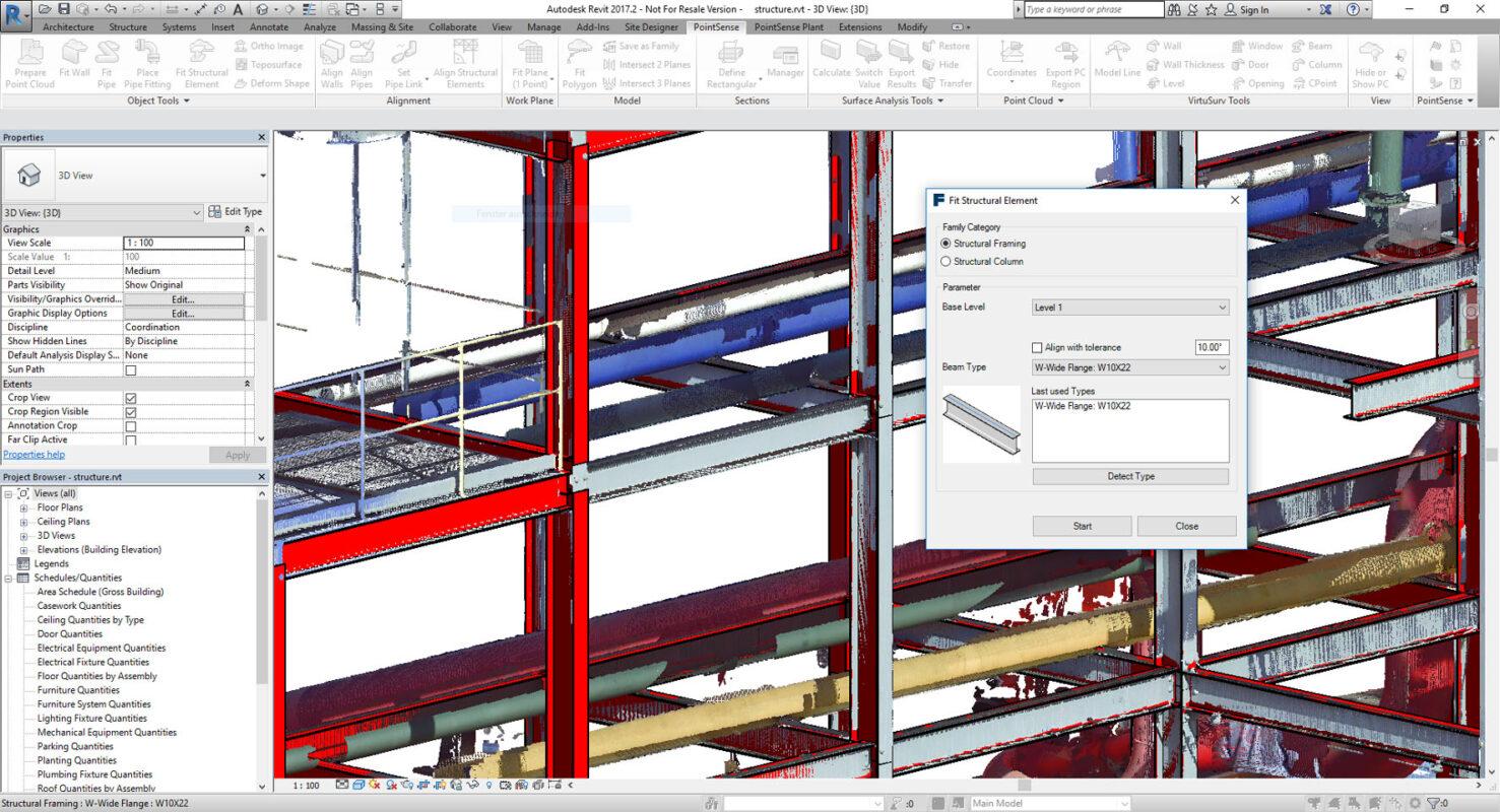 BIM, PointSense 18.5 migliora la modellazione di elementi strutturali Revit