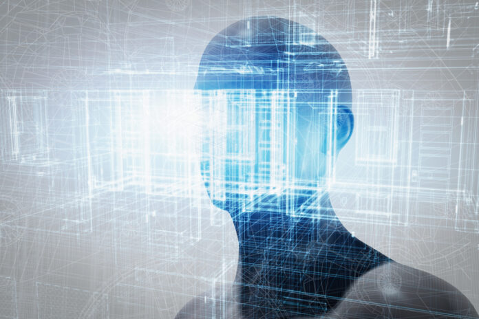 Virtual reality projection. Future science with modern technology, artificial intelligence
